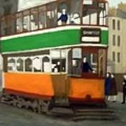 A Glasgow Tram With Figures And Tenement Art Print