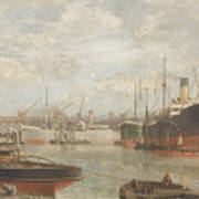 A Glimpse In 1920 Of The Royal Edward Dock, Avonmouth Art Print