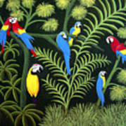 A Group Of Macaws Art Print
