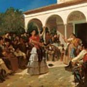 A Gypsy Dance In The Gardens Of Alcazar Art Print