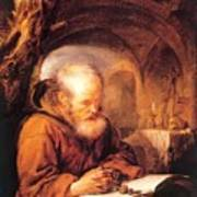 A Hermit Praying 1670 Art Print