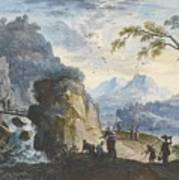 A Hilly Landscape With Figures  Art Print