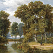 A Hunter And An Angler In A Wooded Landscape Art Print
