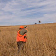 A Hunter Shoots A Ring Necked Pheasant Art Print
