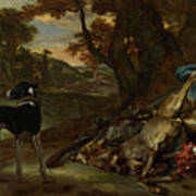 A Huntsman Cutting Up A Dead Deer, With Two Deerhounds Art Print