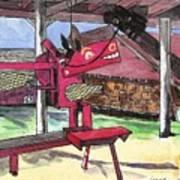 A I Farm Apple Squeeze Dragon Art Print