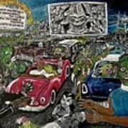 A I P Monster Movie Marathon At The Twilight Drive - In  La Porte Indiana Art Print