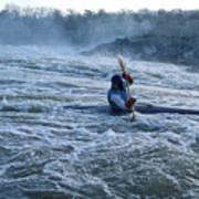 A Kayaker Takes On White Water Rapids Art Print