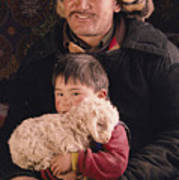 A Kazakh Eagle Hunter And His Son Art Print
