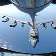 A Kc-135 Stratotanker Refuels A B-52 Art Print by Stocktrek Images