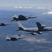 A Kc-135r Stratotanker Refuels Three Print by HIGH-G Productions