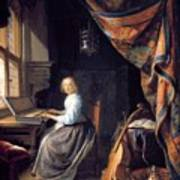 A Lady Playing The Clavichord Art Print