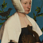 A Lady With A Squirrel And A Starling Anne Lovell Art Print