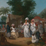 A Linen Market With A Linen-stall And Vegetable Seller In The West Indies Art Print
