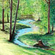 A Little Brook With A Bridge Art Print