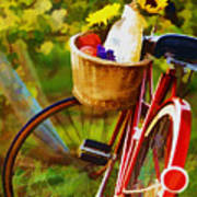 A Loaf Of Bread A Jug Of Wine And A Bike Art Print by Elaine Plesser