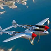 A Lockheed P-38 Lightning Fighter Art Print