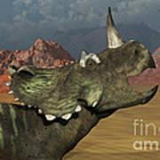 A Lone Centrosaurus Dinosaur Calling Art Print