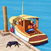 A Man, A Dog And An Old Boat Art Print