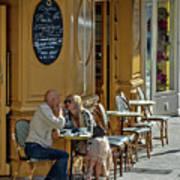 A Man A Woman A French Cafe Art Print by Allen Sheffield