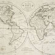 A Map Of The World From The Best Authorities Art Print