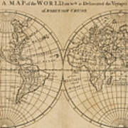 A map of the world on which is delineated the voyage of robinson a map of the world on which is delineated the voyage of robinson crusoe poster gumiabroncs Image collections