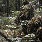A Marine Sniper Team Wearing Camouflage Art Print