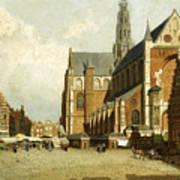 A Market By The St. Bavo Church Art Print