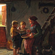 A Meal. Two Boys And A Grandmother Tasting The Potato Soup Art Print