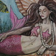 A Mermaid Named Pearl Art Print
