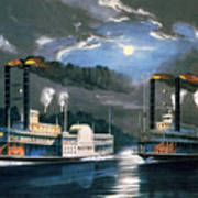 A Midnight Race On The Mississippi Art Print