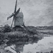 A Mill On The Banks Of The River Stour Charcoal On Paper Art Print