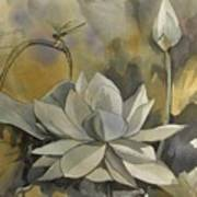 A Moment At The Lotus Pond Art Print