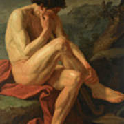 A Naked Man Sitting In A Landscape Art Print