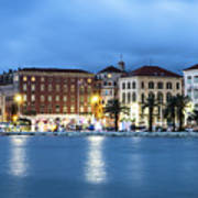 A Night View Of Split Old Town Waterfront In Croatia Art Print
