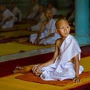A Novice Monk In Rural Thailand Art Print
