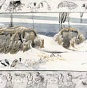 A Painting Depicts Ice Age People Print by Jack Unruh
