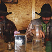 A Pair Of Cowboys Enjoy A Cup Of Coffee Print by Joel Sartore