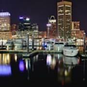 A Panoramic Baltimore Night Art Print