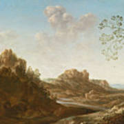 A Panoramic River Valley Landscape With Figures And Village Below Art Print