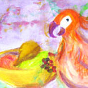 A Parrot And The Passion Fruit Art Print