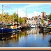 A Peaceful Canal Scene - The Netherlands L A S With Decorative Ornate Printed Frame. Art Print