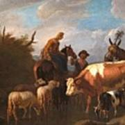 A Peasant Couple Amongst Their Cattle And Sheep Art Print