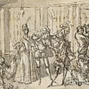 A Performance By The Commedia Dell'arte Art Print