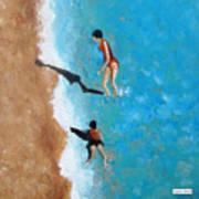A Piece Of The Beach - Orange Swim Art Print