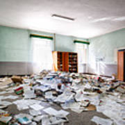 A Pile Of Knowledge - Abandoned School Building Art Print