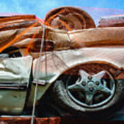 A Pile Of Tied And Netted Autos Art Print