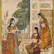 A Princess With Her Maidservants On A Terrace Art Print