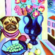 A Pug's Dinner At Henri's - Pug Art Print