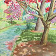 A Quiet Stroll In The Japanese Gardens Of Gibbs Gardens Art Print